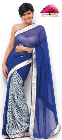 Blue & Grey Georgette Saree by Mandira Bedi at Indianroots.com