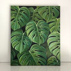 Original oil Monstera leaves by Carin Vaughn by CarinVaughnArt
