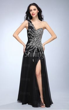 Black A-line Floor-length One Shoulder Dress