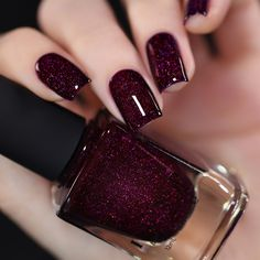 Madeline - Delicious Dark Berry Holographic Nail Polish by ILNP Classy Nails, Stylish Nails, Trendy Nails, Cute Nails, My Nails, Smart Nails, Nail Polish Designs, Nail Polish Colors, Nail Designs
