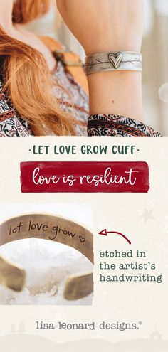 bb0dc5011 let love grow cuff - this new cuff features hand-carved hearts and etched  branches