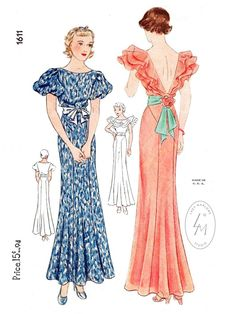 evening gown // vintage sewing pattern reproduction // cascading ruffles // sash waist // PICK YOUR SIZE bust 32 34 36 38 40 Motif Vintage, Vintage Dress Patterns, Vintage Mode, Clothing Patterns, Retro Vintage, 1930s Fashion, Fashion Mode, Vintage Fashion, Fashion Brands