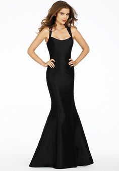 Alvina Valenta Bridesmaids 9484 - Black dupioni soft fluted gown with a scoop neckline. Keyhole back with sheer Black Metallic Carolina Chantilly lace accent.