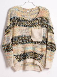 Colourful Striped Round Neck Sweater White$40.00
