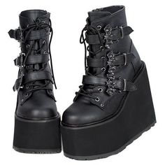Bat Buckle Gothic Platform Boots by Demonia. Bat buckle Demonia womens goth platform boots with lace-up front, buckled straps, and a high wedge platform heel. Grunge Outfits, Grunge Shoes, Edgy Outfits, Mode Outfits, Pretty Shoes, Cute Shoes, Me Too Shoes, Sock Shoes, Women's Shoes