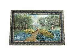 Vintage Oil Painting, Serene Meadow, Original Oil on Board, Signed Enos, Country Lane Landscape