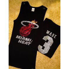Miami Heat With Wade 3 Basketball Rhinestone Crystal Bling Shirt Nba... (49 CAD) ❤ liked on Polyvore featuring tops, black, tanks, women's clothing, slimming tank top, fitted shirts, fitted tank tops, going out shirts and nba shirts