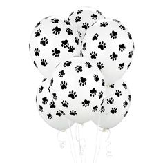 Any let lovers out there? Or having a paw patrol party ! Add these stinky cute balloons to your decor ! ------------------------------------------------------------------------------------------------------------------------------------- ☆ The Design: Pack of 6 Size :11 colours :white balloons black paw prints Or you can purchase a paw grab bag: Pack of 6 balloons X3 onyx black 11 latex and X3 White paw print balloons 11 latex Suitable for air and hellium inflation These are QUALATEX...