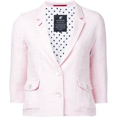 Loveless tweed blazer ($195) ❤ liked on Polyvore featuring outerwear, jackets, blazers, blazer jacket, pink tweed blazer, pink tweed jacket, tweed blazer and tweed jacket