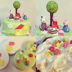 Peppa pig... fondant cake, cookies y brownie