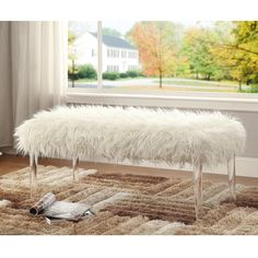 Shop Simple Living Leona Velvet Tufted Bench with Acrylic Legs - Overstock - 10175817 - navy Furniture Deals, Coastal Furniture, Furniture Outlet, Online Furniture, Basement Furniture, Living Room Furniture, Pink Faux Fur, Living Room Seating, Dining Room