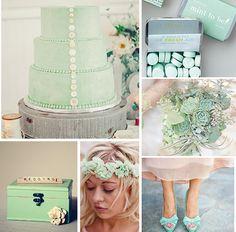 Mint wedding color palette.  Perfecto para una hermosa novia que dará el Si el 12 de octubre!