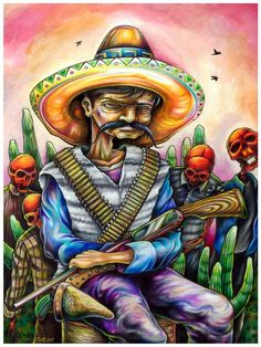 "Reformation, Wounds, and the Man They Made ~ 11""x14"" colored pencil and acrylic on wood by Bryan Collins ~ http://www.useeverycolor.com  #art #mexican #mexico #southwest #prismacolor #Bryan #Collins #popart #useeverycolor"