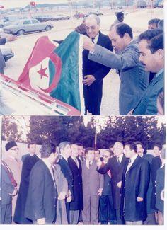 """Rachid Sfar inaugure en 1986 le projet Tuniso-Algérien  implanté à Sakiet-Sidi-Youssef prévu pour la fabrication de moteurs pour les bateaux de pêche. On voit à ses côtés l'ingénieur centralien CHEBBI D.G du projet qui devait être un projet modèle.....mais malheureusement pour des raisons qui demeurent inconnues ce projet pilote qui devait être doté de son centre de recherche-développement a été """" ruiné"""" et """" saboté"""" pendant la période Ben-Ali."""