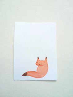 Kawaii Fox Watercolour Illustration