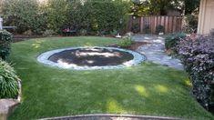 Project: Danville, CA Artificial Turf Around Trampoline in Backyard Danville Ca, Drought Tolerant Landscape, Artificial Turf, Putt Putt, Backyard, Patio, Bay Area, Stepping Stones, Outdoor Decor