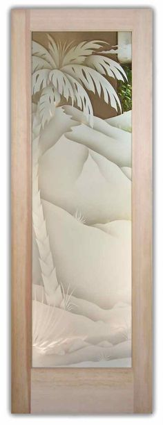 Desert Palm 2D Glass Door - Glass Front Doors by Sans Soucie Art Glass.  Sandblast etched frosted glass.