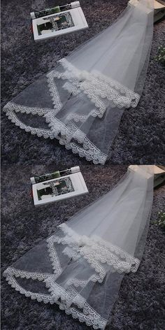 2017 Hot Sale One layer Bridal Wedding Veil Lace Veil Ivory Bridal Accessories With Appliques Cheap Wedding Accessories