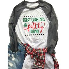 Sleeve Merry Christmas Letter Printed Raglan T-Shirt