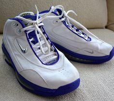 VINTAGE! Mens NIKE AIR MAX Uptempo BASKETBALL SHOES Sneakers 7.5 90's White BLUE #Nike #BasketballShoes