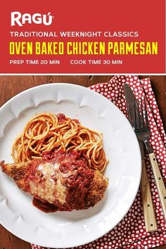 Oven Baked Chicken Parmesan This weeknight classic is made extra tasty with RAGÚ® Old World Style Traditional Sauce. Add a jar to your grocery list and delight your favorite dinner guests this week with this mouth-watering Grilled Chicken Parmesan! Best Baked Chicken Parmesan Recipe, Grilled Chicken, Chicken Recipes, Chicken Meals, Healthy Chicken, Sauce Recipes, Drink Recipes, Vegetarian Recipes, Cooking Recipes