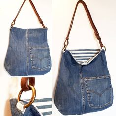 Billedresultat for recycle jeans Upcycled denim jeans bag - pinning for inspiration - item is/was for sale. Dimensions - height diameter of the bottom - shopping bags from old jeans pic for inspiration purpose only, links to site to purchase from maker 71 Diy Sac Pochette, Jeans Recycling, Denim Tote Bags, Denim Bags From Jeans, Diy Denim Purse, Diy Jeans, Reuse Jeans, Jeans Refashion, Women's Jeans