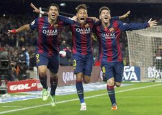Barcelona's front line of Luis Suárez, Neymar and Lionel Messi celebrate a goal against Atlético Madrid during their La Liga win at Camp Nou Fc Barcelona, Equipe Do Barcelona, Lionel Messi Barcelona, Barcelona Football, Messi Neymar Suarez, Neymar Jr, Messi Team, Messi Messi, Football Images