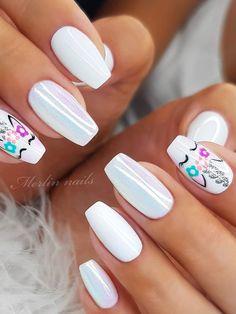 Unicorn Nails Designs, Unicorn Nail Art, Cute Spring Nails, Cute Nails, Summer Nails, Pretty Nail Art, Beautiful Nail Art, Square Nail Designs, Nail Art Designs