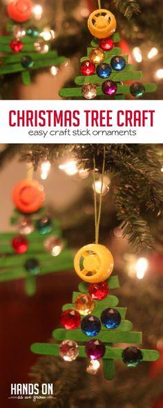 Make a sparkly craft stick Christmas tree ornament with the kids via @handsonaswegrow