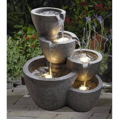 Simple but pretty! Jeco Multi Pots Indoor/Outdoor Fountain with 4 LED Lights | from hayneedle.com @hayneedle #fountain #gift #chic #holiday #forher