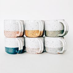 love the various colors and the speckled clay in this set of handmade mugs! Ceramic Mugs, Ceramic Pottery, Ceramic Art, Slab Pottery, Pottery Mugs, Pottery Bowls, Ceramic Bowls, Mugs Sharpie, Tea Mugs