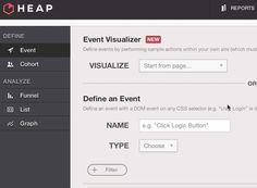 """Mit demAnalytics-Tool lässt sich ein """"Event"""" ohne coden erstellen.(Animation: heapanalytics.com)"""