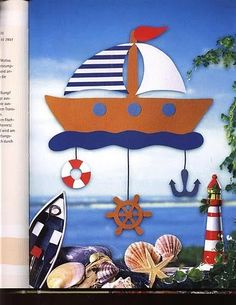 Beach Themed Crafts, Sea Crafts, Cute Crafts, Diy And Crafts, Crafts For Kids, Paper Crafts, Seasons Activities, Summer Activities, Nautical Party