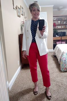 White Loft blazer paired with Loft ankle pants and a navy polka dot top for a fun summer women's work outfit. #workwear #summerworkoutfit #outfitideas White Blazer Outfits, White Blazers, White Shirts, Summer Work Outfits, Simple Outfits, Bright Pants, Work Pants, Ankle Pants, Get Dressed