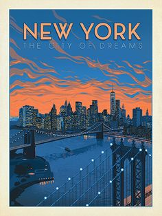 New York: City Of Dreams - Anderson Design Group has created an award-winning series of classic travel posters that celebrates the history and charm of America's greatest cities and national parks. This print features a striking view of the New York skyline. Printed on heavy gallery-grade matte finished paper, this print will add a dash of contemporary New York style to any home or office wall.