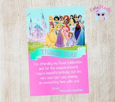 Disney Princess Thank You Card Princess Birthday by CutePixels