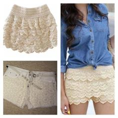 Lot 2 Knitted Lace Crochet White Jean Denim High Waist Forever Shorts Cowgirl