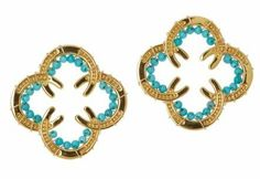 Equestrian Flair ~ Gold Plated Sterling Silver Horseshoe Earrings accented with Turquoise Beads.