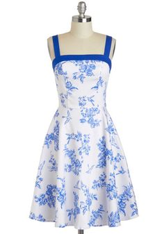 'Toile Time Favorite' blue and white dress