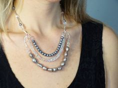 Silver Crystal Necklace - Crystal & Silver Pearl Necklace -...