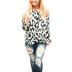 7050b741dab6 Leopard Blouse 2017 Autumn New Fashion Off Shoulder Women O-Neck Long  Seelve White Shirt Tops Blusa Chemisier Femme
