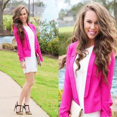 Katlyn Maupin styled up her White Shift Dress from #FevrieFashion with a hot pink blazer and looks fabulous!