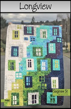 modern quilting designs 53 x 74 Longview is a fun free-form project inspired by busy congested city streets and tall buildings. Instructions will guide you through the process t House Quilt Patterns, House Quilt Block, Quilt Block Patterns, Patchwork Patterns, Loom Patterns, Canvas Patterns, Crochet Patterns, Crazy Quilting, Patchwork Quilting