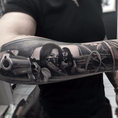 Dont f*** with us by Thomas Derm Hospital Tattoo #DermhospitalThomas #Thomas #blackandgrey #realism #realistic #hyperrealism #gun #lady #chicano #lowrider #bandana #babes #gangster #tattoooftheday
