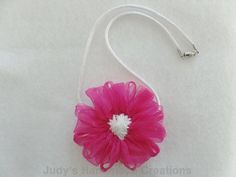Judy's Handmade Creations: Pink Ribbon Flower Necklace! Thank you for sharing at the Thursday Favorite Things blog hop