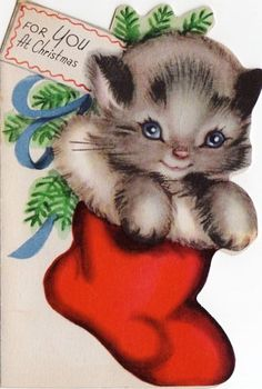 Christmas kitten in stocking!...* 1500 free paper dolls including Christmas dolls international artist and author Arielle Gabriel's The International Paper Doll Society for my Pinterest paper doll pals *