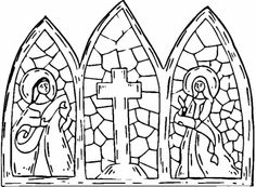 stained glass coloring pages | Stained Glass Cross coloring page