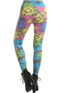 Retro Colorful Floral Leggings #Romwe