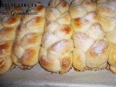 Así se come en Granada: trenza de brioche - Bread - Easy Baking Recipes, Healthy Baking, Cooking Recipes, Mexican Food Recipes, Sweet Recipes, Challah Bread Recipes, Brioche Bread, Spanish Desserts, Biscuit Bread