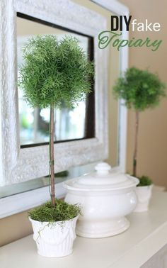 No green thumb needed. Step-by-step photo tutorial showing you how to easily make a fake topiary | In My Own Style